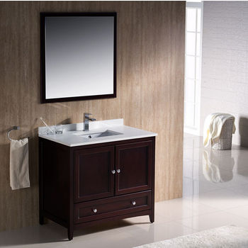Fresca Oxford 36 quot  Mahogany Traditional Bathroom Vanity  Dimensions of Vanity  36 quot  W x 20 3 8 quot  D x 32 5 8 quot  H. Freestanding Bath Vanities in Handcrafted  Traditional  Modern