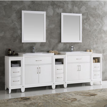 Cambridge 96 Double Sink Traditional Bathroom Vanity W Mirrors Set By Fresca Kitchensource Com