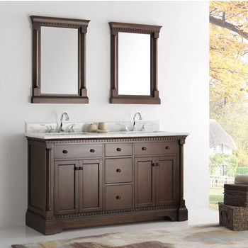 Kingston 60 Double Sink Traditional Bathroom Vanity W Mirrors