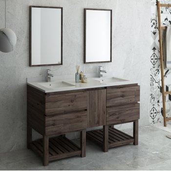 Formosa 60 72 Or 84 Wide Floor Standing Double Sink Modern Bathroom Vanity Set W Open Bottom Mirrors By Fresca Kitchensource Com