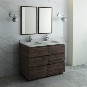 Formosa 48 60 Or 72 Wide Floor Standing Double Sink Modern Bathroom Vanity Set W Mirrors By Fresca Kitchensource Com