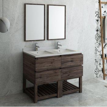 "Fresca Formosa 48"" Floor Standing Double Sink Modern Bathroom Vanity Set w/ Open Bottom & Mirrors, Base Cabinet: 48"" W x 20-3/8"" D x 34-7/8"" H"
