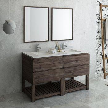 "Fresca Formosa 60"" Floor Standing Double Sink Modern Bathroom Vanity Set w/ Open Bottom & Mirrors, Base Cabinet: 60"" W x 20-3/8"" D x 34-7/8"" H"