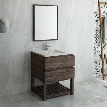 Formosa 24 30 Or 36 Wide Floor Standing Modern Bathroom Vanity Set W Open Bottom Mirror By Fresca Kitchensource Com