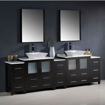 """Fresca Torino 96"""" Espresso Modern Double Sink Bathroom Vanity with 3 Side Cabinets and Vessel Sinks, Dimensions of Vanity: 96"""" W x 18-1/8"""" D x 35-5/8"""" H"""