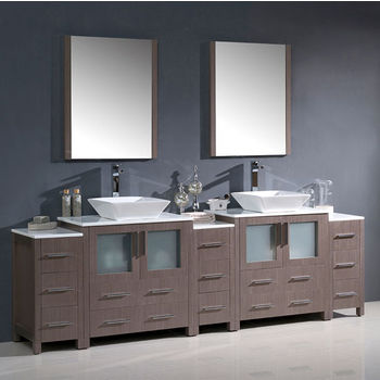 """Fresca Torino 96"""" Gray Oak Modern Double Sink Bathroom Vanity with 3 Side Cabinets and Vessel Sinks, Dimensions of Vanity: 96"""" W x 18-1/8"""" D x 35-5/8"""" H"""
