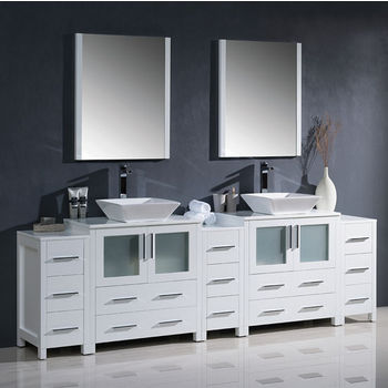 """Fresca Torino 96"""" White Modern Double Sink Bathroom Vanity with 3 Side Cabinets and Vessel Sinks, Dimensions of Vanity: 96"""" W x 18-1/8"""" D x 35-5/8"""" H"""