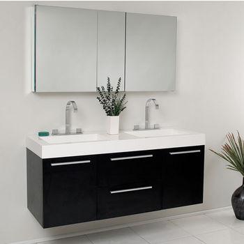 Surprising Opulento 54 Wall Mounted Double Sink Bathroom Vanity W Beutiful Home Inspiration Truamahrainfo