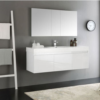 Fresca Mezzo 60 White Wall Hung Single Sink Modern Bathroom Vanity With Medicine Cabinet Dimensions Of 59 W