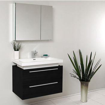 "Fresca Medio 32"" Black Modern Wall Mounted Bathroom Vanity with Medicine Cabinet, Dimensions of Vanity: 31-3/8"" W x 18-3/4"" D x 24"" H"