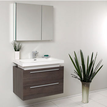 "Fresca Medio 32"" Gray Oak Modern Bathroom Vanity with Medicine Cabinet, Dimensions of Vanity: 31-3/8"" W x 18-3/4"" D x 24"" H"