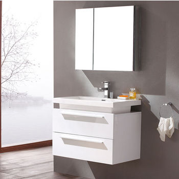 "Fresca Medio 32"" White Modern Bathroom Vanity with Medicine Cabinet, Dimensions of Vanity: 31-3/8"" W x 18-3/4"" D x 24"" H"