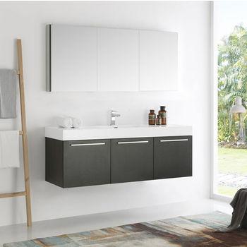 Vista 60 Wall Hung Single Sink Modern Bathroom Vanity W Medicine Cabinet Set By Fresca Kitchensource Com