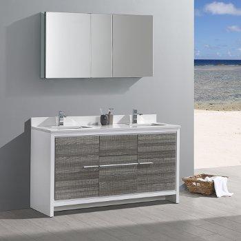Contemporary Office Interior Design, Allier 60 Modern Double Sink Bathroom Vanity W Mirror Set By Fresca Kitchensource Com