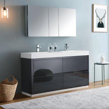 "Fresca Valencia 60"" Dark Slate Gray Free Standing Double Sink Modern Bathroom Vanity w/ Medicine Cabinet, Vanity Base: 60"" W x 19"" D x 34"" H, Medicine Cabinet: 49"" W x 5"" D x 26"" H"