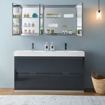"""60"""" Dark Slate Gray Double Sink Opened Front View"""