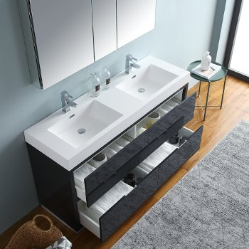 "60"" Dark Slate Gray Double Sink Overhead Opened View"