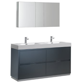 """60"""" Dark Slate Gray Double Sink Angle Product View"""