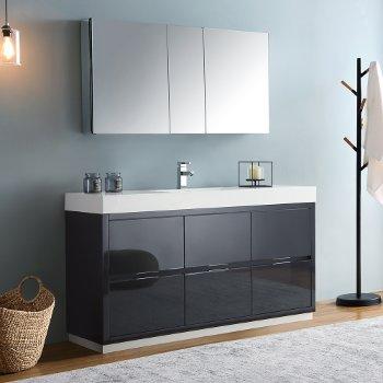 "Fresca Valencia 60"" Dark Slate Gray Free Standing Modern Bathroom Vanity w/ Medicine Cabinet, Vanity Base: 60"" W x 19"" D x 34"" H, Medicine Cabinet: 49"" W x 5"" D x 26"" H"