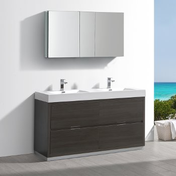 "Fresca Valencia 60"" Gray Oak Free Standing Double Sink Modern Bathroom Vanity w/ Medicine Cabinet, Vanity Base: 60"" W x 19"" D x 34"" H, Medicine Cabinet: 49"" W x 5"" D x 26"" H"