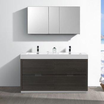 "60"" Gray Oak Double Sink Front View"