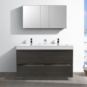"""60"""" Gray Oak Double Sink Opened Front View"""