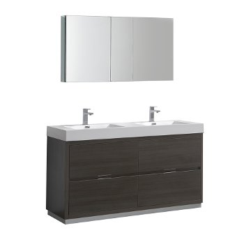 """60"""" Gray Oak Double Sink Angle Product View"""