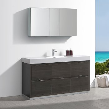 "Fresca Valencia 60"" Gray Oak Free Standing Modern Bathroom Vanity w/ Medicine Cabinet, Vanity Base: 60"" W x 19"" D x 34"" H, Medicine Cabinet: 49"" W x 5"" D x 26"" H"