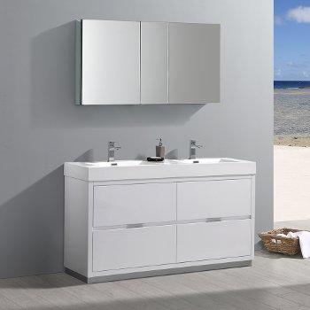"Fresca Valencia 60"" Glossy White Free Standing Double Sink Modern Bathroom Vanity w/ Medicine Cabinet, Vanity Base: 60"" W x 19"" D x 34"" H, Medicine Cabinet: 49"" W x 5"" D x 26"" H"