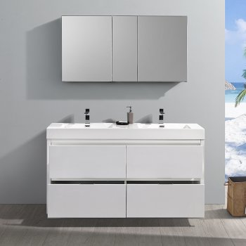 """60"""" Glossy White Double Sink Opened Front View"""