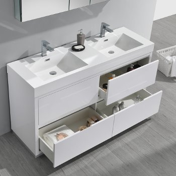 """60"""" Glossy White Double Sink Overhead Opened View"""