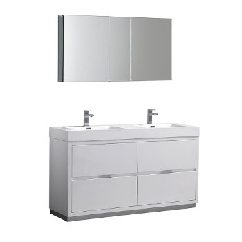 """60"""" Glossy White Double Sink Angle Product View"""