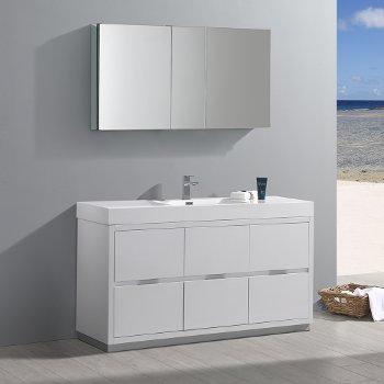 "Fresca Valencia 60"" Glossy White Free Standing Modern Bathroom Vanity w/ Medicine Cabinet, Vanity Base: 60"" W x 19"" D x 34"" H, Medicine Cabinet: 49"" W x 5"" D x 26"" H"