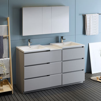 """60"""" Gray Partitioned with Medicine Cabinet and Sink Side View"""