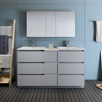 """60"""" Gray Partitioned with Medicine Cabinet and Sink Front View"""
