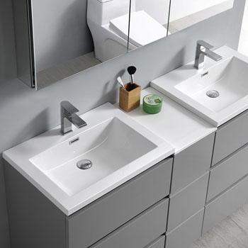 """60"""" Gray Partitioned with Medicine Cabinet and Sink Overhead View"""