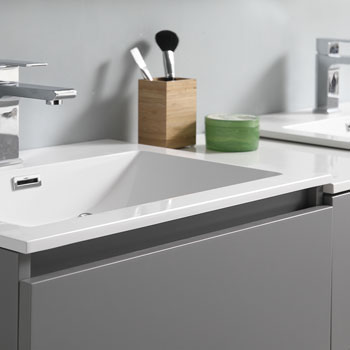 """60"""" Gray Partitioned with Medicine Cabinet and Sink Close Up"""