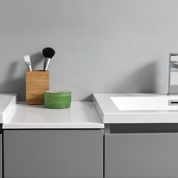 """60"""" Gray Partitioned with Medicine Cabinet and Sink Partition Top"""