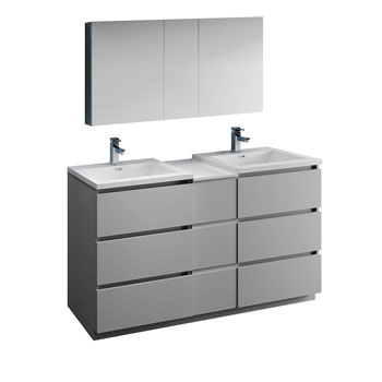 """60"""" Gray Partitioned with Medicine Cabinet and Sink Product View"""