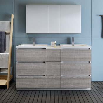 """60"""" Glossy Ash Gray Partitioned with Medicine Cabinet and Sink Front View"""