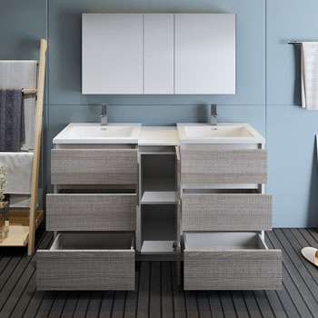 """60"""" Glossy Ash Gray Partitioned with Medicine Cabinet and Sink Drawers Open"""