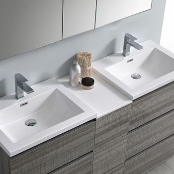 """60"""" Glossy Ash Gray Partitioned with Medicine Cabinet and Sink Overhead View"""