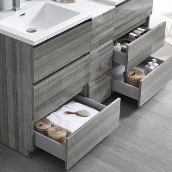 """60"""" Glossy Ash Gray Partitioned with Medicine Cabinet and Sink Tiered Drawers"""