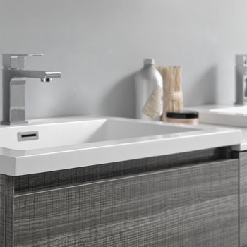 """60"""" Glossy Ash Gray Partitioned with Medicine Cabinet and Sink Close Up"""