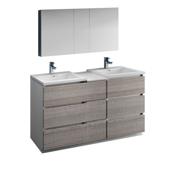 """60"""" Glossy Ash Gray Partitioned with Medicine Cabinet and Sink Product View"""