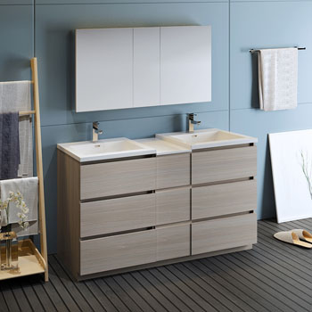 """60"""" Gray Wood Partitioned with Medicine Cabinet and Sink Side View"""