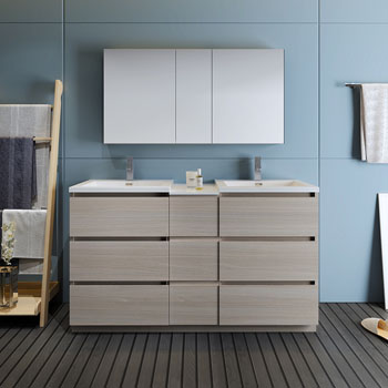 """60"""" Gray Wood Partitioned with Medicine Cabinet and Sink Front View"""