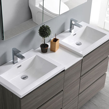"""60"""" Gray Wood Partitioned with Medicine Cabinet and Sink Overhead View"""