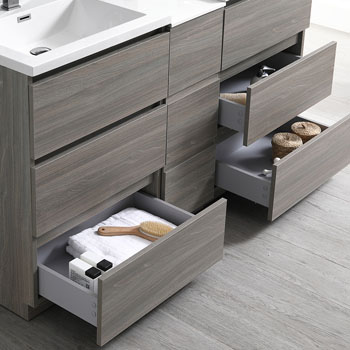 """60"""" Gray Wood Partitioned with Medicine Cabinet and Sink Open"""