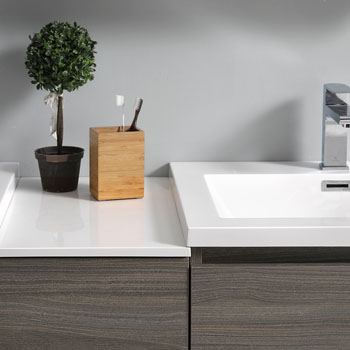 """60"""" Gray Wood Partitioned with Medicine Cabinet and Sink Partition Top"""